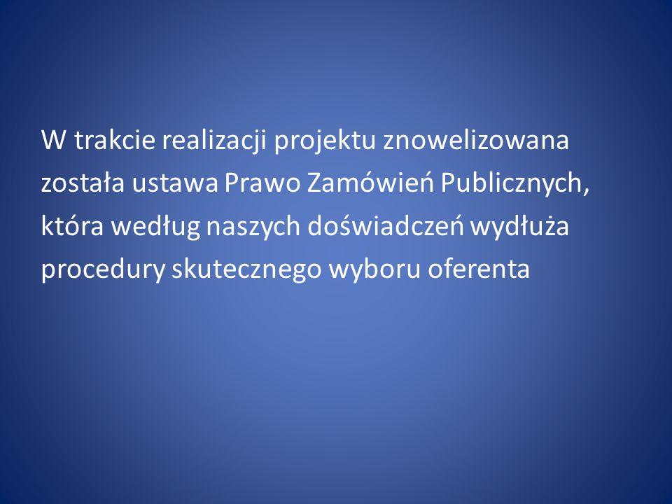 W trakcie realizacji projektu znowelizowana została ustawa Prawo Zamówień Publicznych, która według naszych doświadczeń wydłuża procedury skutecznego