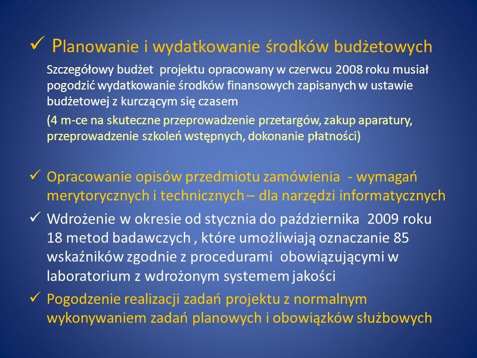 P lanowanie i wydatkowanie środków budżetowych Szczegółowy budżet projektu opracowany w czerwcu 2008 roku musiał pogodzić wydatkowanie środków finanso