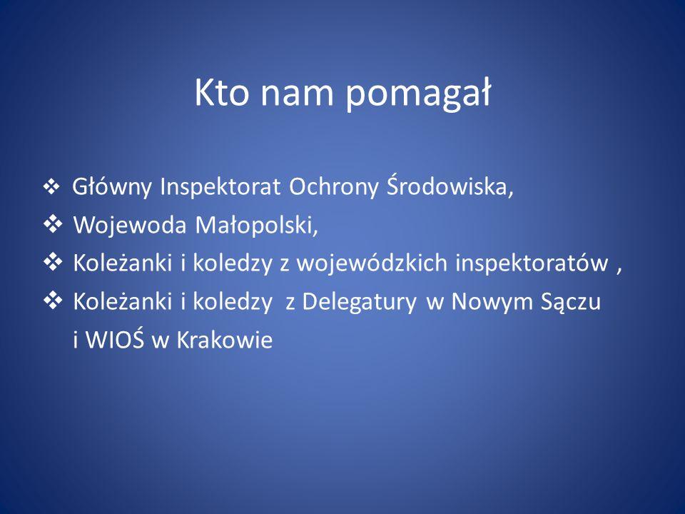 Kto nam pomagał Główny Inspektorat Ochrony Środowiska, Wojewoda Małopolski, Koleżanki i koledzy z wojewódzkich inspektoratów, Koleżanki i koledzy z De