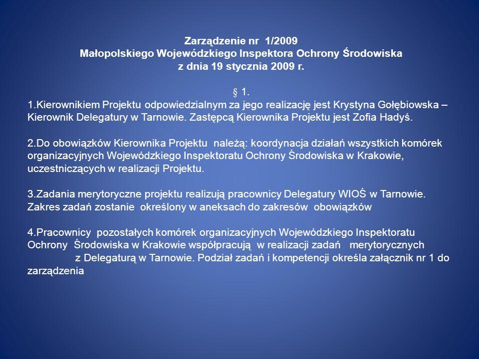 Zarządzenie nr 1/2009 Małopolskiego Wojewódzkiego Inspektora Ochrony Środowiska z dnia 19 stycznia 2009 r. § 1. 1.Kierownikiem Projektu odpowiedzialny