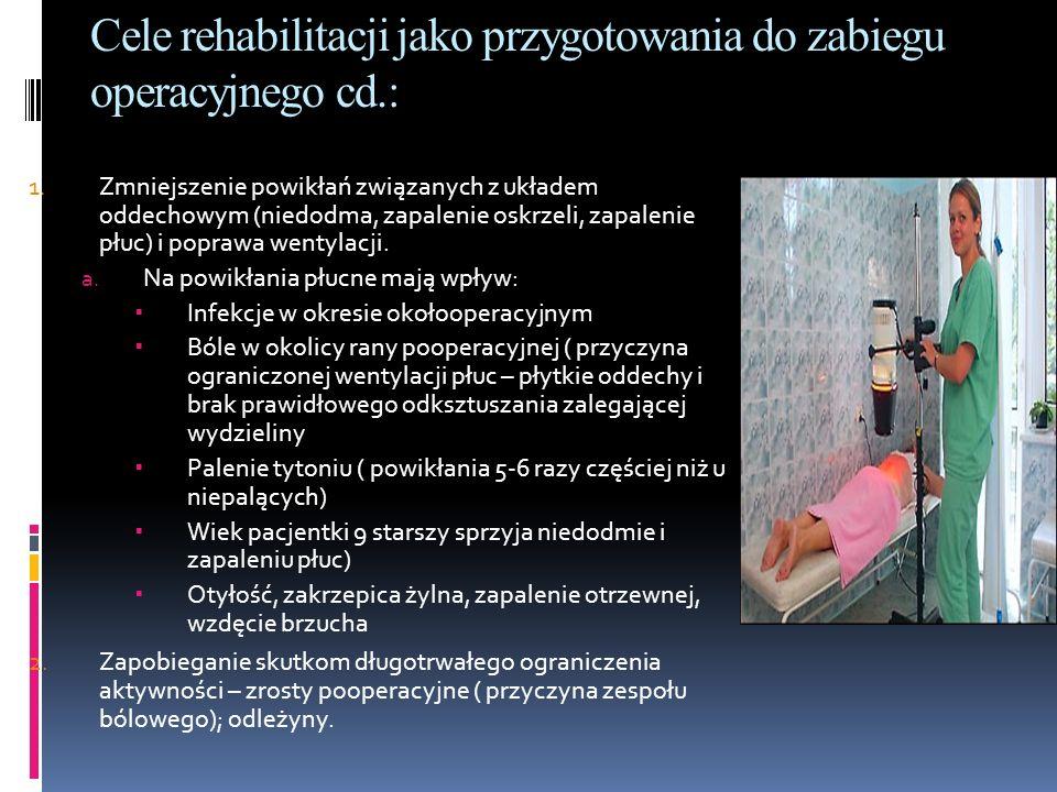 Cele rehabilitacji jako przygotowania do zabiegu operacyjnego cd.: 1. Zmniejszenie powikłań związanych z układem oddechowym (niedodma, zapalenie oskrz