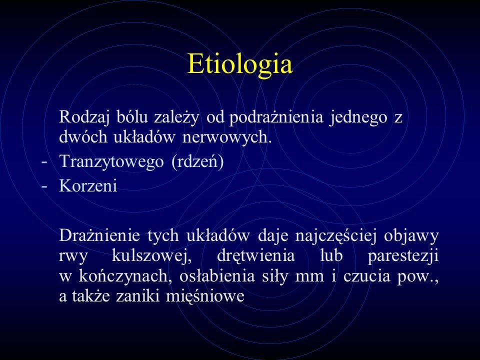 Etiologia Rodzaj bólu zależy od podrażnienia jednego z dwóch układów nerwowych. - Tranzytowego (rdzeń) - Korzeni Drażnienie tych układów daje najczęśc