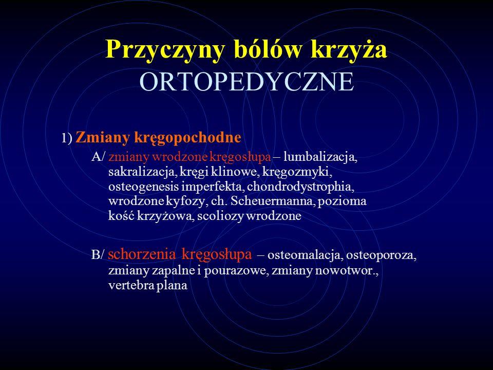 Przyczyny bólów krzyża ORTOPEDYCZNE 1) Zmiany kręgopochodne A/ zmiany wrodzone kręgosłupa – lumbalizacja, sakralizacja, kręgi klinowe, kręgozmyki, ost