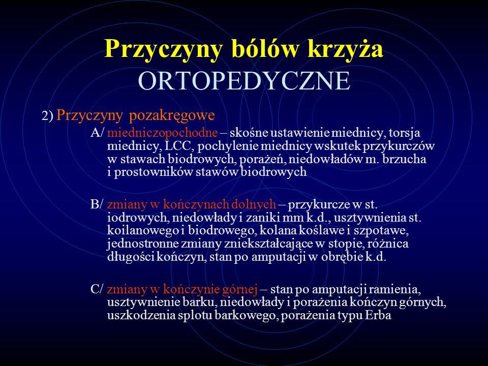 Przyczyny bólów krzyża ORTOPEDYCZNE 2) Przyczyny pozakręgowe A/ miedniczopochodne – skośne ustawienie miednicy, torsja miednicy, LCC, pochylenie miedn
