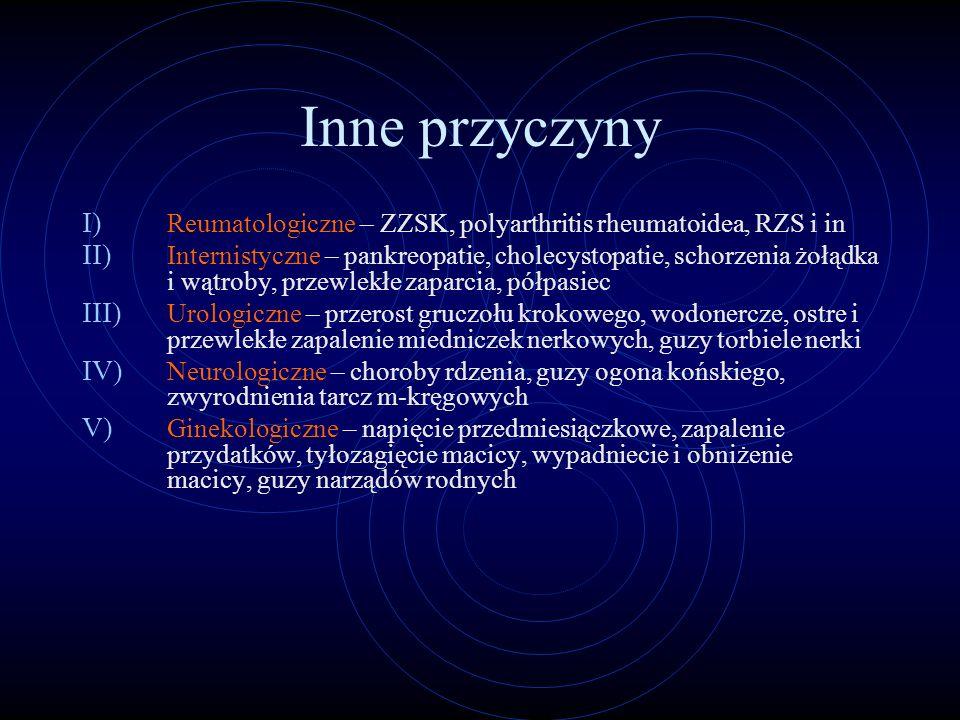 Inne przyczyny I) Reumatologiczne – ZZSK, polyarthritis rheumatoidea, RZS i in II) Internistyczne – pankreopatie, cholecystopatie, schorzenia żołądka