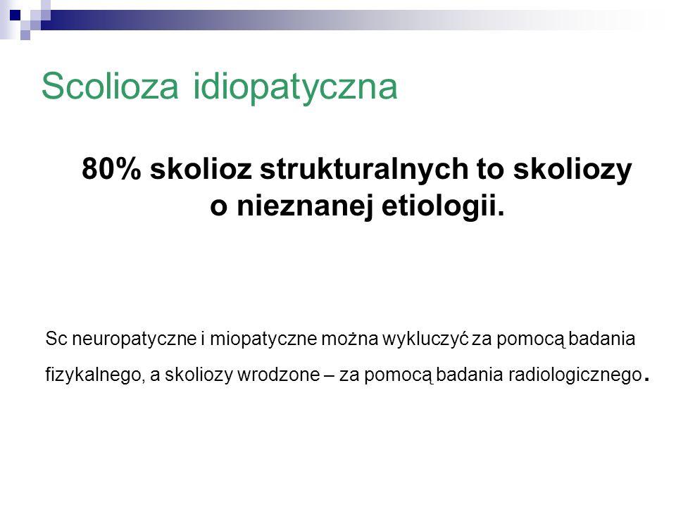 Scolioza idiopatyczna 80% skolioz strukturalnych to skoliozy o nieznanej etiologii. Sc neuropatyczne i miopatyczne można wykluczyć za pomocą badania f