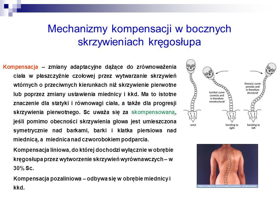 Mechanizmy kompensacji w bocznych skrzywieniach kręgosłupa Kompensacja – zmiany adaptacyjne dążące do zrównoważenia ciała w płaszczyźnie czołowej prze