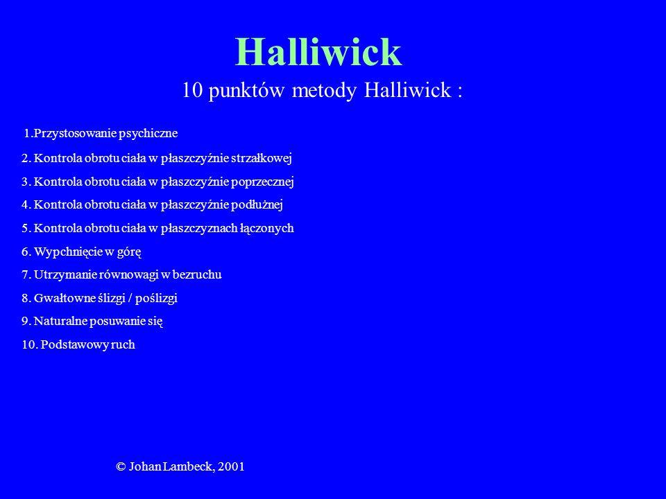 © Johan Lambeck, 2001 Halliwick 10 punktów metody Halliwick : 1.Przystosowanie psychiczne 2. Kontrola obrotu ciała w płaszczyźnie strzałkowej 3. Kontr
