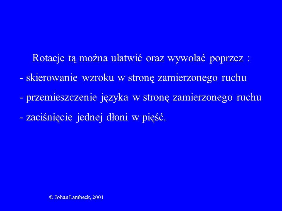 © Johan Lambeck, 2001 Rotacje tą można ułatwić oraz wywołać poprzez : - skierowanie wzroku w stronę zamierzonego ruchu - przemieszczenie języka w stro