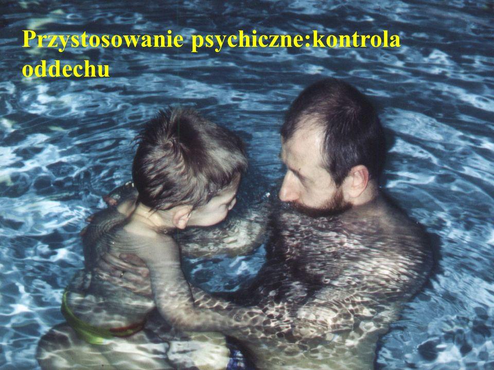 © Johan Lambeck, 2001 Przystosowanie psychiczne dotyczy : - adaptacji środowiska wodnego - kontrola postawy ciała - adaptacja innych osób ćwiczących - kontrola oddechu - zmniejszanie punktów podparcia - zmiany pozycji terapeuty : 1 fazie kontakt wzrokowy z pacjentem 2 fazie instruktor z boku (ćwiczący ustawieni w kole lub w linii) 3 fazie instruktor z tyłu pacjenta