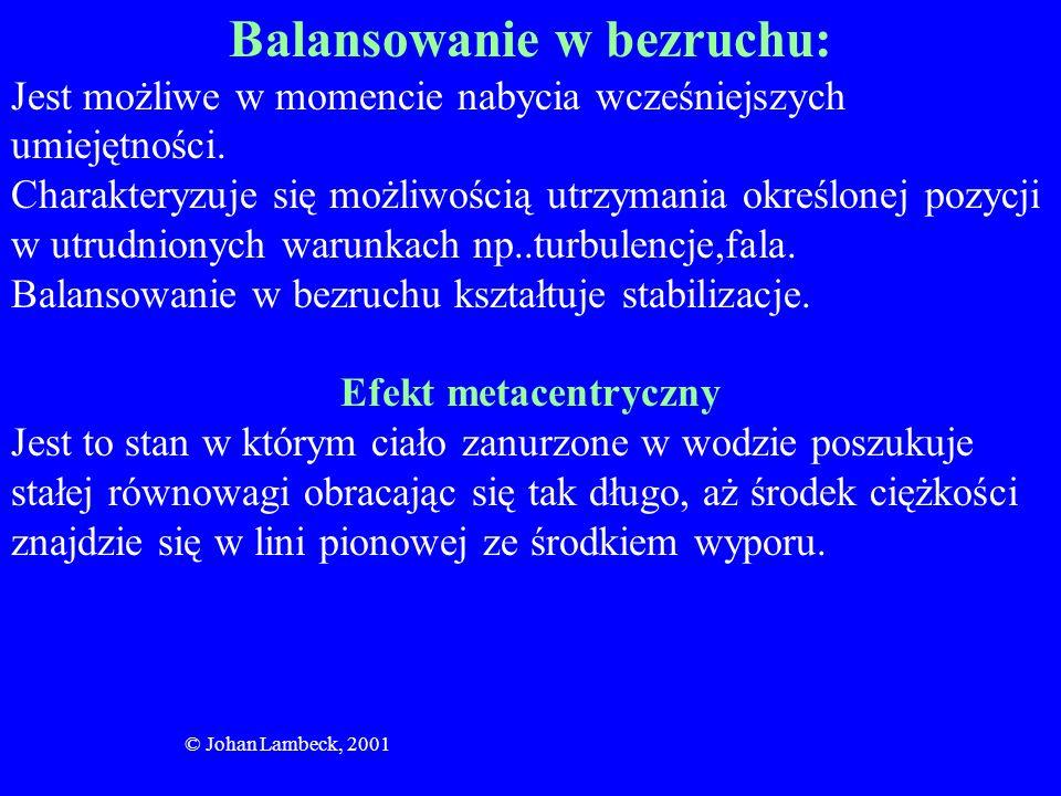 © Johan Lambeck, 2001 Balansowanie w bezruchu: Jest możliwe w momencie nabycia wcześniejszych umiejętności. Charakteryzuje się możliwością utrzymania