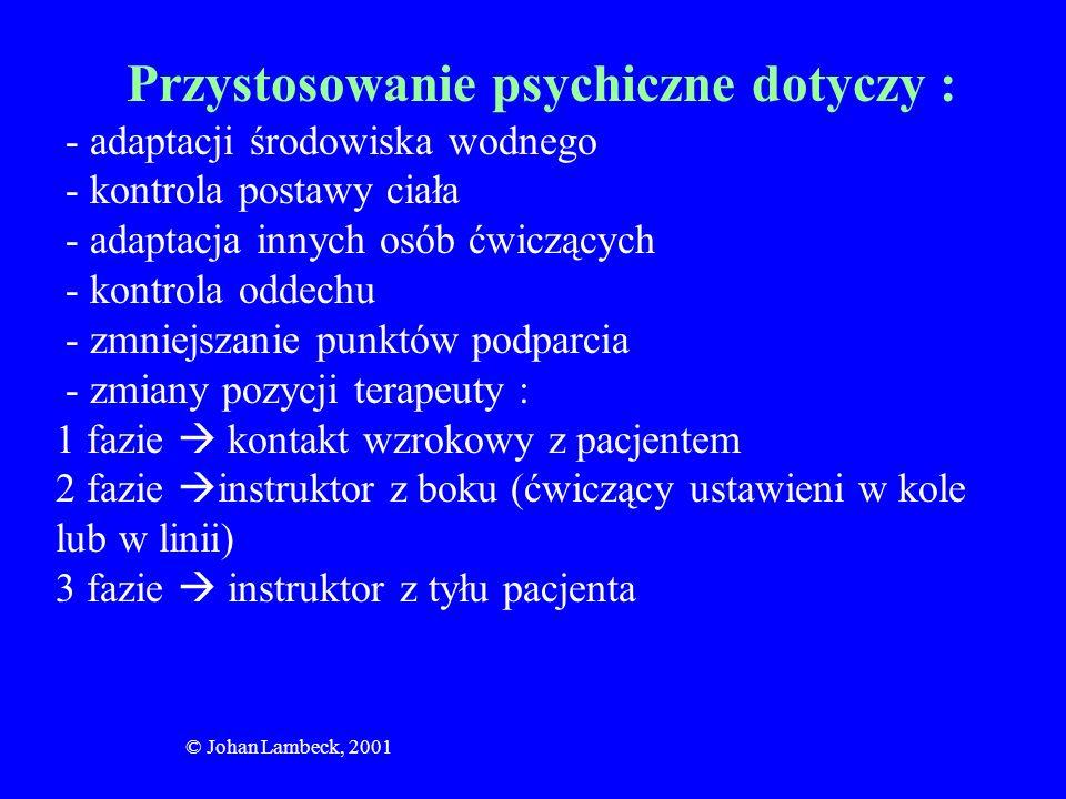 © Johan Lambeck, 2001 Sekwencja ćwiczeń: -pacjent na kolanach terapeuty (całkowite podtrzymywanie) -terapeuta z boku (podtrzymywanie pacjenta w pozycji suplinacyjnej jedną ręką wywołuje rotację wokół osi poprzecznej) -terapeuta z tyłu (utrzymanie równowagi przez pacjenta- przeciwstawianie się turbulencjom) -nauka hamowania niepożądanych ruchów rotacyjnych ciała -nauka zapoczątkowania ruchu za pomocą kkg, kkd, głowy, ciała