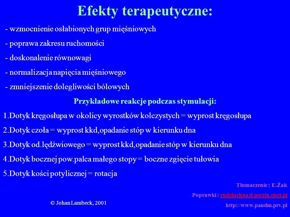 © Johan Lambeck, 2001 Efekty terapeutyczne: - wzmocnienie osłabionych grup mięśniowych - poprawa zakresu ruchomości - doskonalenie równowagi - normali