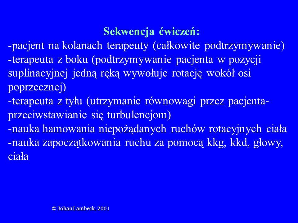 © Johan Lambeck, 2001 Sekwencja ćwiczeń: -pacjent na kolanach terapeuty (całkowite podtrzymywanie) -terapeuta z boku (podtrzymywanie pacjenta w pozycj
