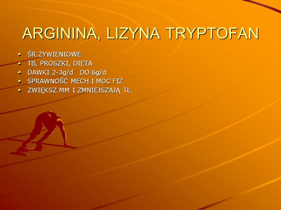 Napoje Leki przeciwebólowe-narkotyczne Niacyna (kw nikotynowy) Nikotyna Prep witaminowo- mineralne Pyłek pszczeli Selen Steroidy anaboliczno androgenne Testosteron i gonadotropina TlenL-tryptofanWanadWapń Tłuscze i węglowodany B1, B2, B6, B12, B15, C, E Fe Żeń szeń
