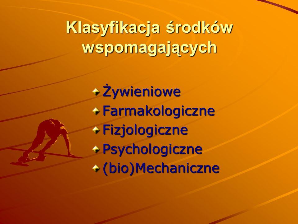 Klasyfikacja środków wspomagających ŻywienioweFarmakologiczneFizjologicznePsychologiczne(bio)Mechaniczne