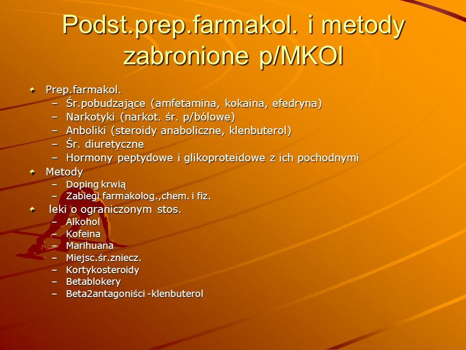 Podst.prep.farmakol. i metody zabronione p/MKOl Prep.farmakol. –Śr.pobudzające (amfetamina, kokaina, efedryna) –Narkotyki (narkot. śr. p/bólowe) –Anbo