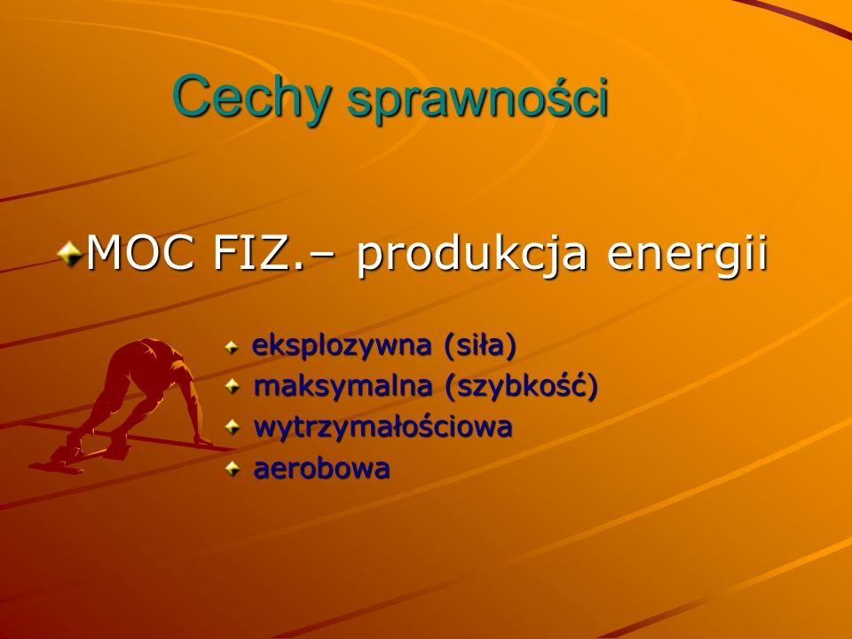 Cechy sprawności MOC FIZ.– produkcja energii eksplozywna (siła) eksplozywna (siła) maksymalna (szybkość) maksymalna (szybkość) wytrzymałościowa wytrzy
