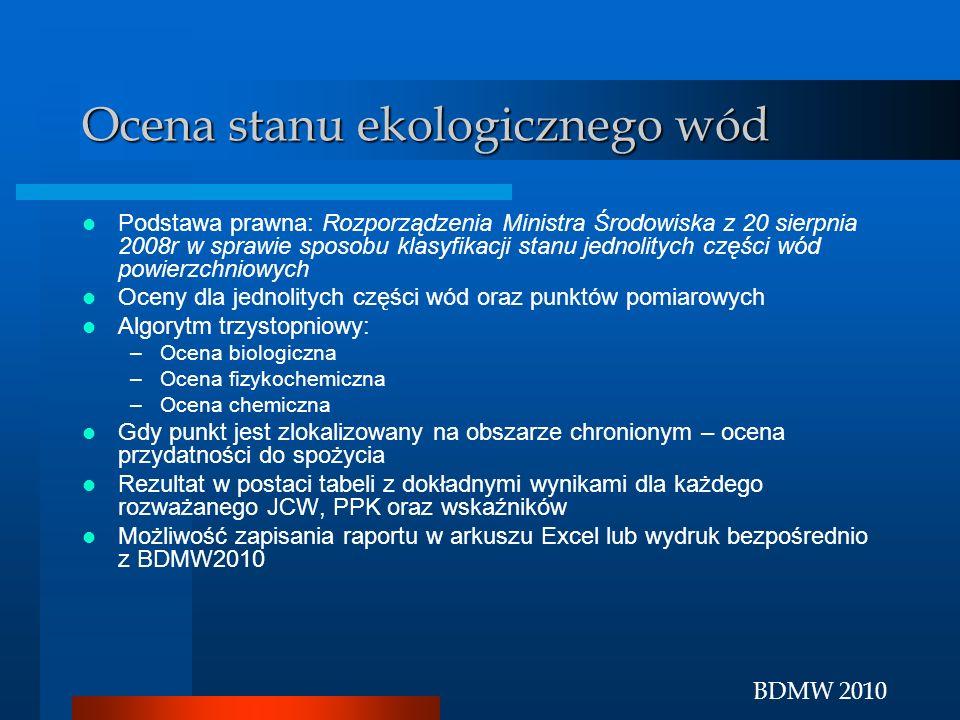 BDMW 2010 Ocena stanu ekologicznego wód Podstawa prawna: Rozporządzenia Ministra Środowiska z 20 sierpnia 2008r w sprawie sposobu klasyfikacji stanu j
