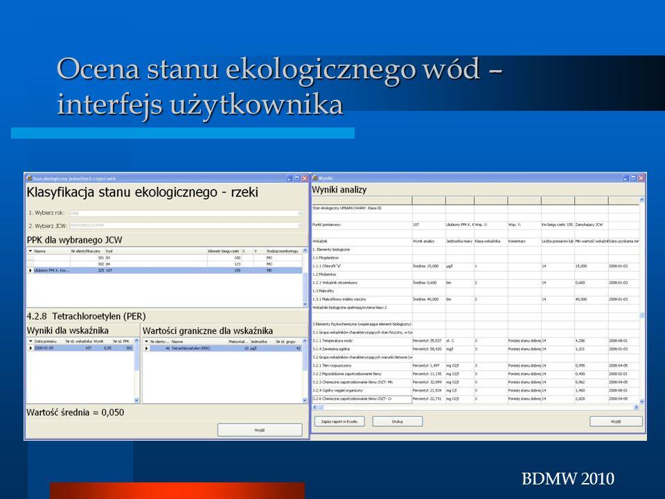 BDMW 2010 Ocena stanu ekologicznego wód – interfejs użytkownika
