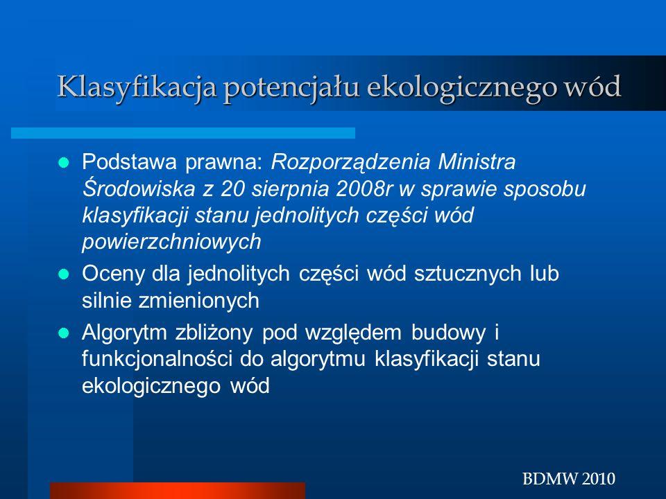 BDMW 2010 Klasyfikacja potencjału ekologicznego wód Podstawa prawna: Rozporządzenia Ministra Środowiska z 20 sierpnia 2008r w sprawie sposobu klasyfik