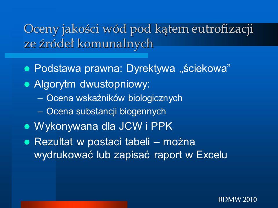 BDMW 2010 Oceny jakości wód pod kątem eutrofizacji ze źródeł komunalnych Podstawa prawna: Dyrektywa ściekowa Algorytm dwustopniowy: –Ocena wskaźników