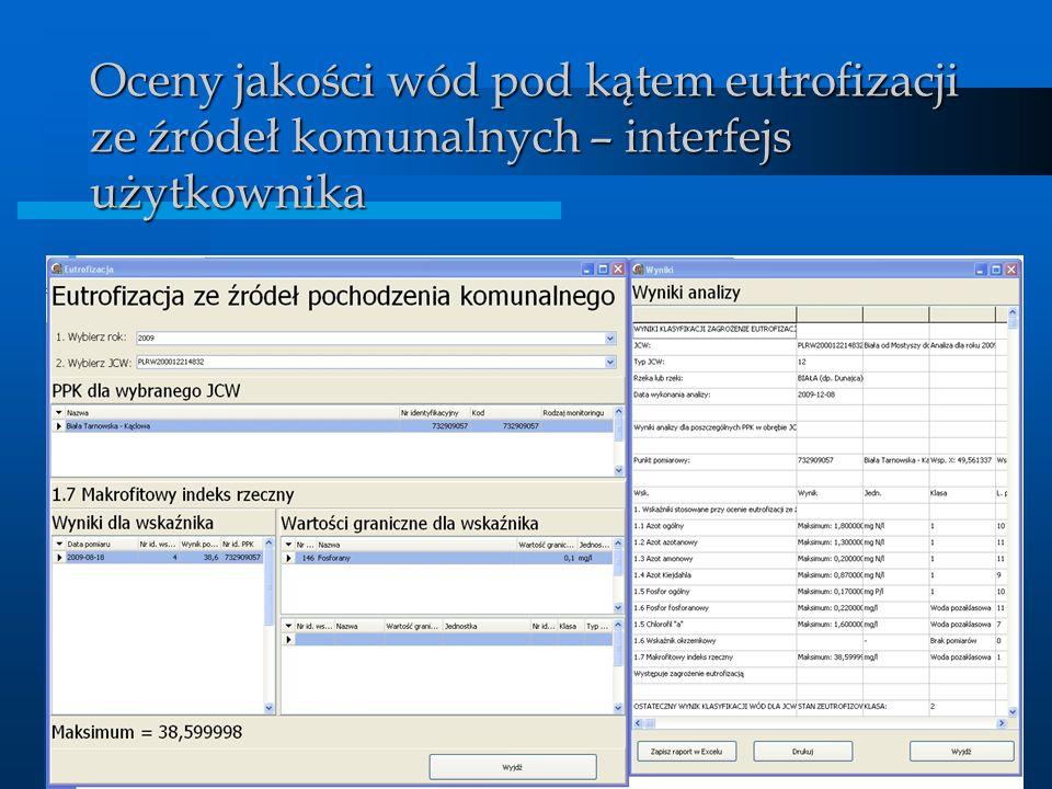BDMW 2010 Oceny jakości wód pod kątem eutrofizacji ze źródeł komunalnych – interfejs użytkownika