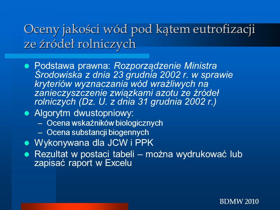 BDMW 2010 Oceny jakości wód pod kątem eutrofizacji ze źródeł rolniczych Podstawa prawna: Rozporządzenie Ministra Środowiska z dnia 23 grudnia 2002 r.