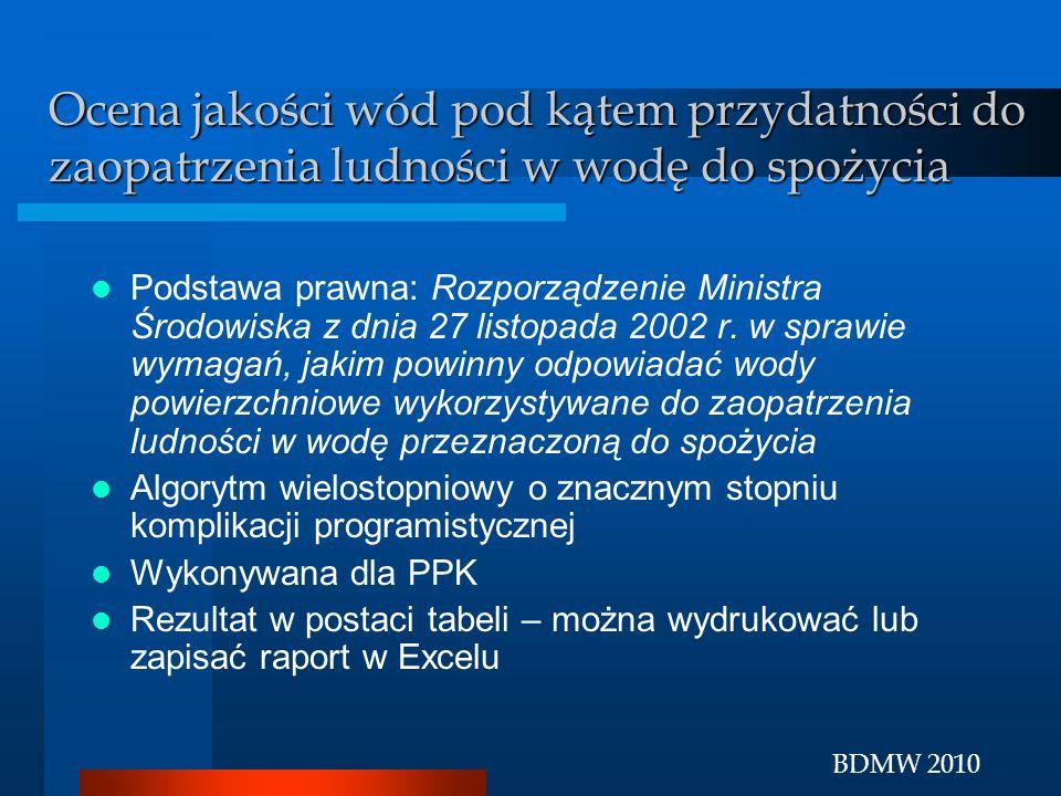 BDMW 2010 Ocena jakości wód pod kątem przydatności do zaopatrzenia ludności w wodę do spożycia Podstawa prawna: Rozporządzenie Ministra Środowiska z d