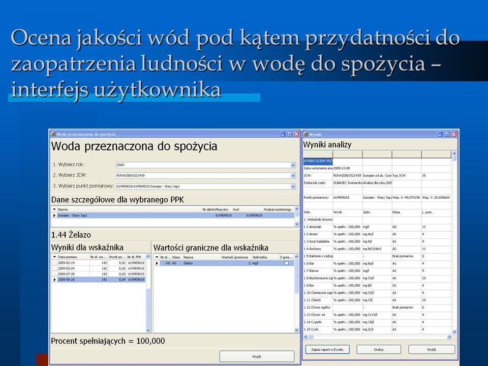 BDMW 2010 Ocena jakości wód pod kątem przydatności do zaopatrzenia ludności w wodę do spożycia – interfejs użytkownika