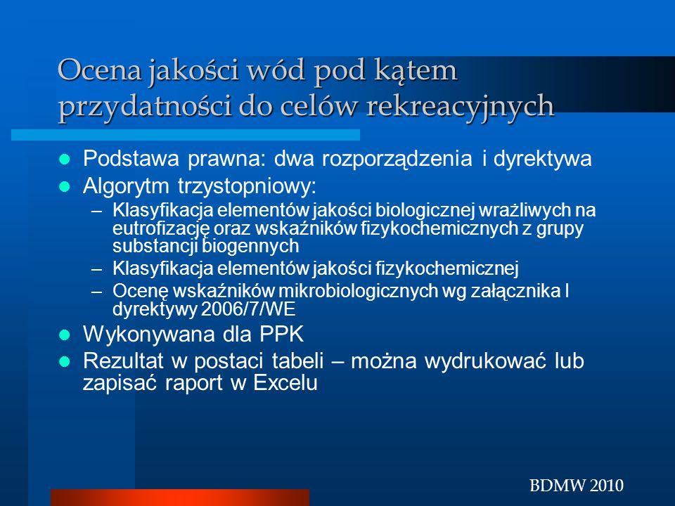 BDMW 2010 Ocena jakości wód pod kątem przydatności do celów rekreacyjnych Podstawa prawna: dwa rozporządzenia i dyrektywa Algorytm trzystopniowy: –Kla