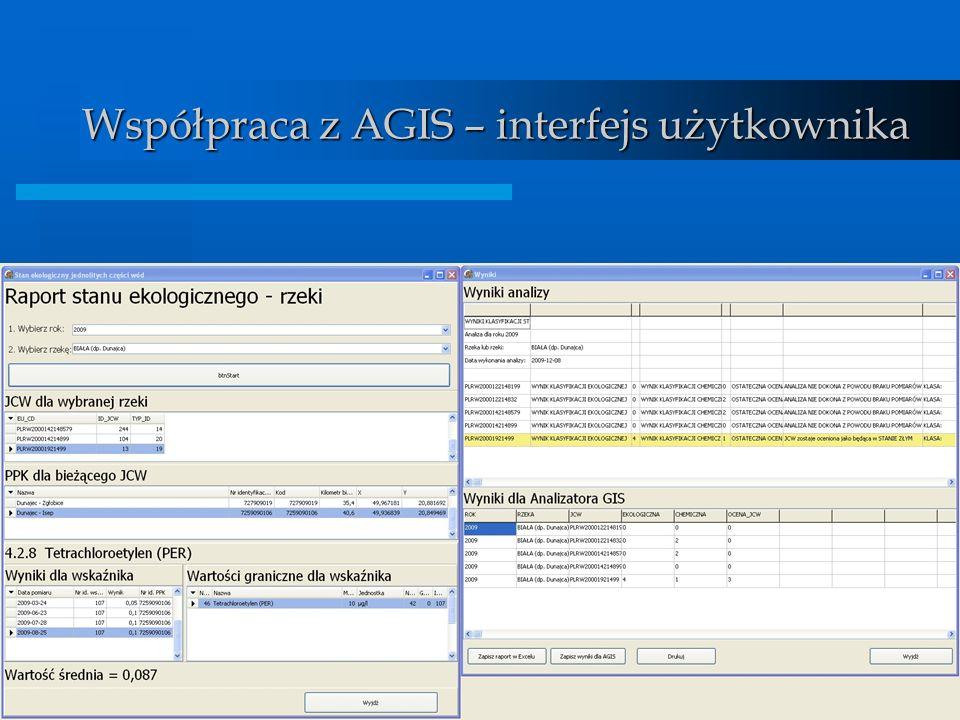 BDMW 2010 Współpraca z AGIS – interfejs użytkownika