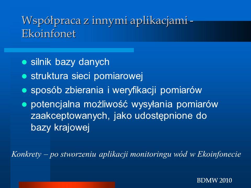 BDMW 2010 Współpraca z innymi aplikacjami - Ekoinfonet silnik bazy danych struktura sieci pomiarowej sposób zbierania i weryfikacji pomiarów potencjal