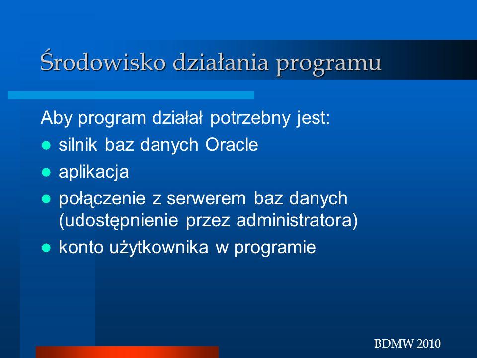 BDMW 2010 Środowisko działania programu Aby program działał potrzebny jest: silnik baz danych Oracle aplikacja połączenie z serwerem baz danych (udost