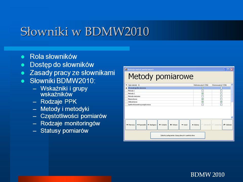 BDMW 2010 Słowniki w BDMW2010 Rola słowników Dostęp do słowników Zasady pracy ze słownikami Słowniki BDMW2010: –Wskaźniki i grupy wskaźników –Rodzaje