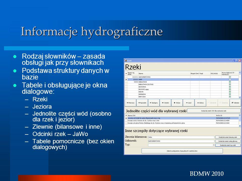 BDMW 2010 Informacje hydrograficzne Rodzaj słowników – zasada obsługi jak przy słownikach Podstawa struktury danych w bazie Tabele i obsługujące je ok