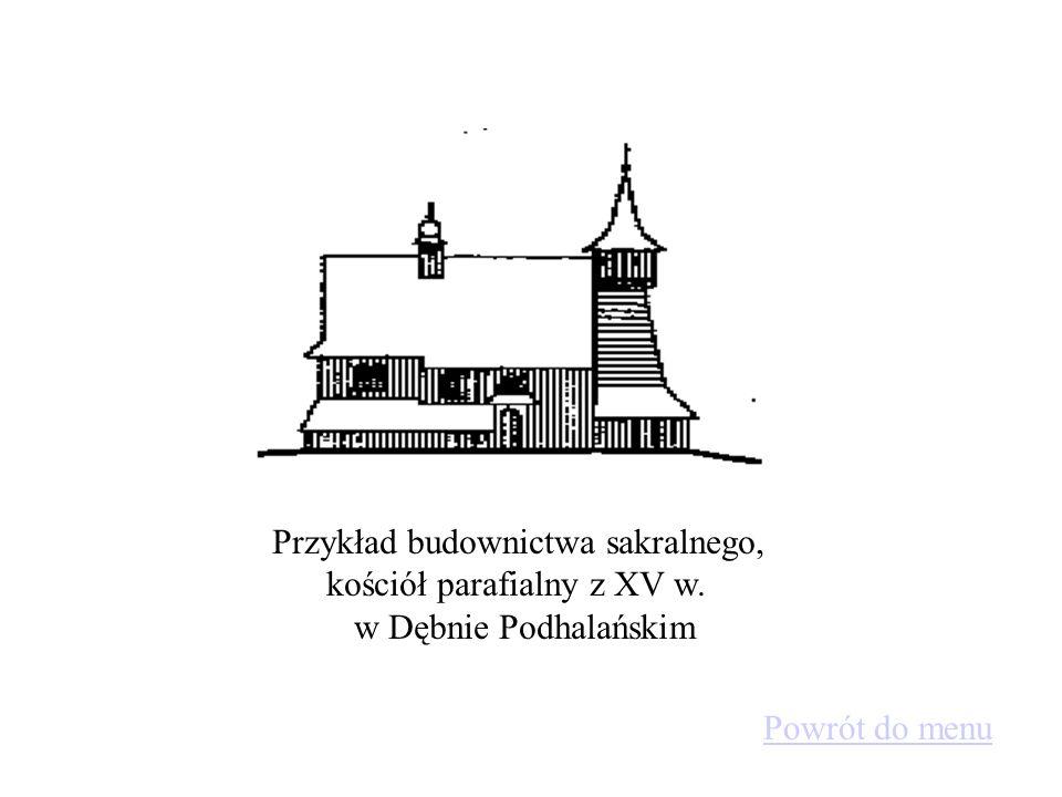 Przykłady budynków mieszkalnych: - z lewej strony: dom dwuizbowy z 1794 r.,Ujsoły - z prawej: budynek mieszkalno-inwentarski z XVII w. Biała Woda. Pow