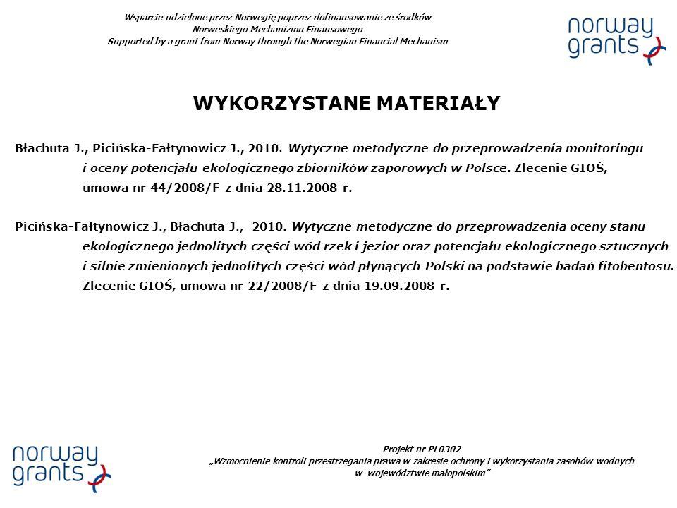 Projekt nr PL0302 Wzmocnienie kontroli przestrzegania prawa w zakresie ochrony i wykorzystania zasobów wodnych w województwie małopolskim Wsparcie udz