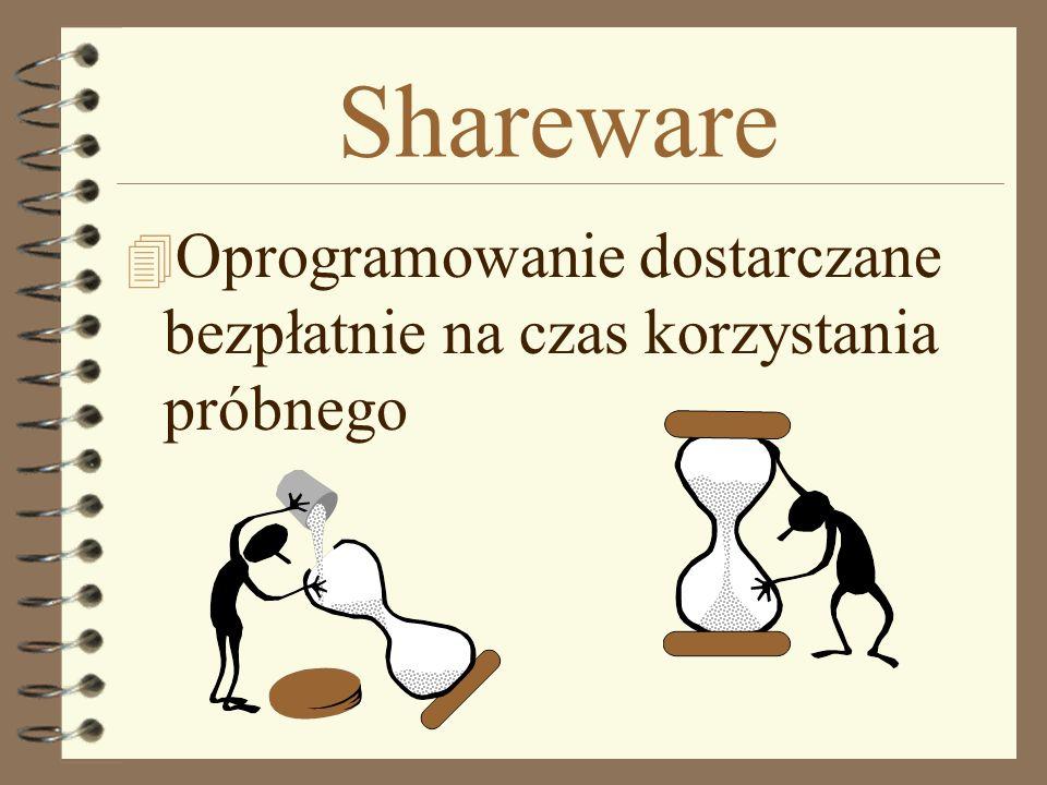 Shareware 4 Oprogramowanie dostarczane bezpłatnie na czas korzystania próbnego