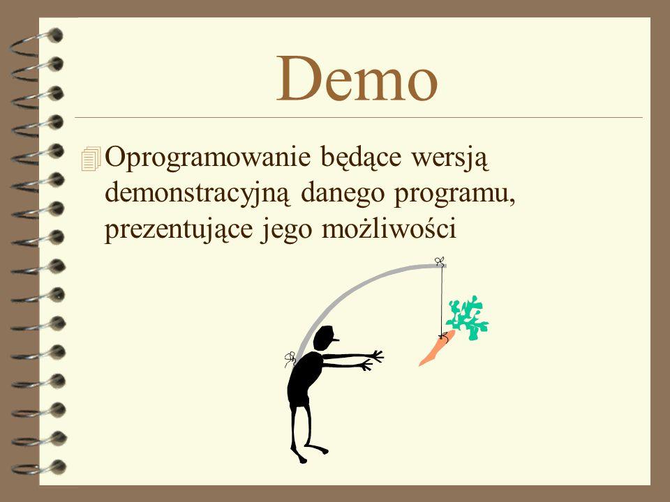 Demo 4 Oprogramowanie będące wersją demonstracyjną danego programu, prezentujące jego możliwości