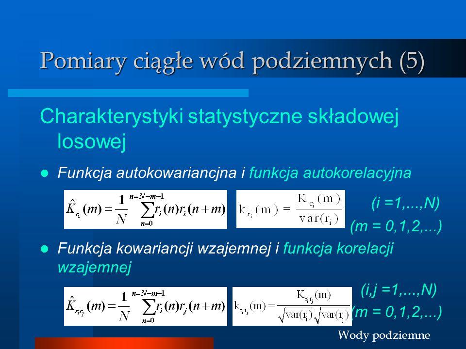 Wody podziemne Pomiary ciągłe wód podziemnych (5) Charakterystyki statystyczne składowej losowej Funkcja autokowariancjna i funkcja autokorelacyjna (i