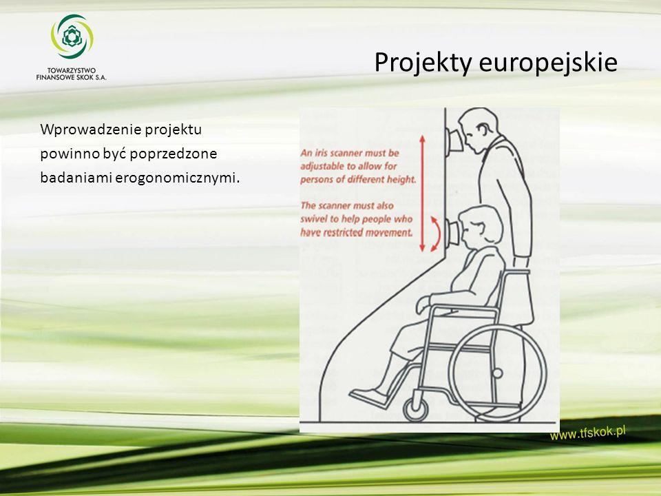 Projekty europejskie Wprowadzenie projektu powinno być poprzedzone badaniami erogonomicznymi.