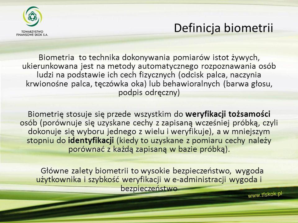 Definicja biometrii Biometria to technika dokonywania pomiarów istot żywych, ukierunkowana jest na metody automatycznego rozpoznawania osób ludzi na p