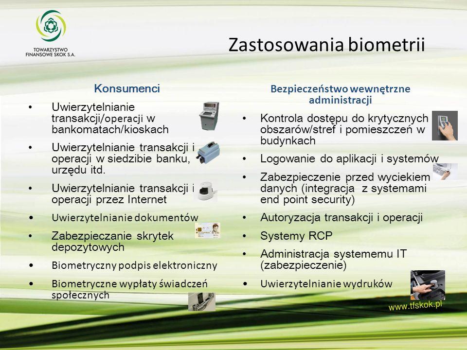 Zastosowania biometrii Konsumenci Uwierzytelnianie transakcji /operacji w bankomatach/kioskach Uwierzytelnianie transakcji i operacji w siedzibie bank