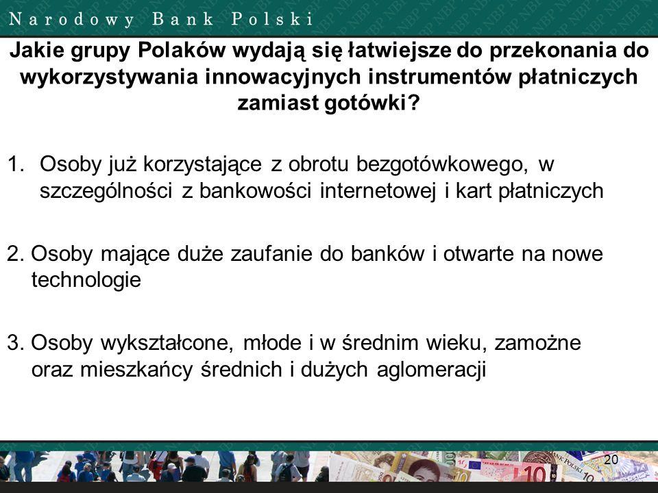 Jakie grupy Polaków wydają się łatwiejsze do przekonania do wykorzystywania innowacyjnych instrumentów płatniczych zamiast gotówki? 1.Osoby już korzys