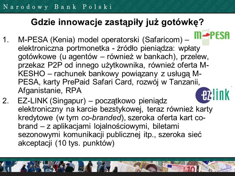 Gdzie innowacje zastąpiły już gotówkę? 1.M-PESA (Kenia) model operatorski (Safaricom) – elektroniczna portmonetka - źródło pieniądza: wpłaty gotówkowe