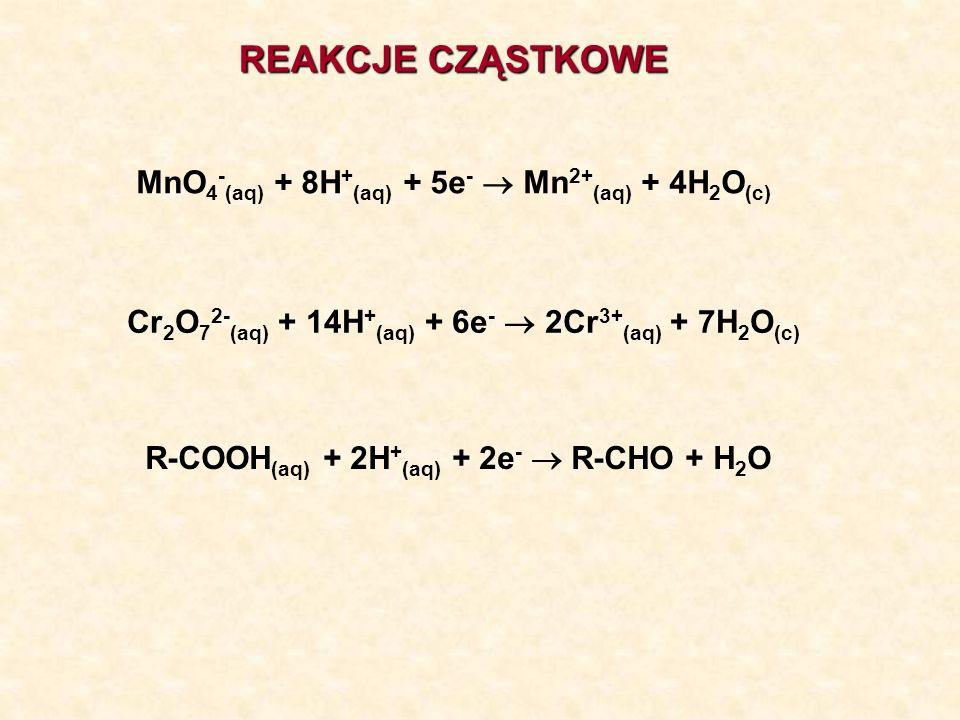 REAKCJE CZĄSTKOWE MnO 4 - (aq) + 8H + (aq) + 5e - Mn 2+ (aq) + 4H 2 O (c) Cr 2 O 7 2- (aq) + 14H + (aq) + 6e - 2Cr 3+ (aq) + 7H 2 O (c) R-COOH (aq) +