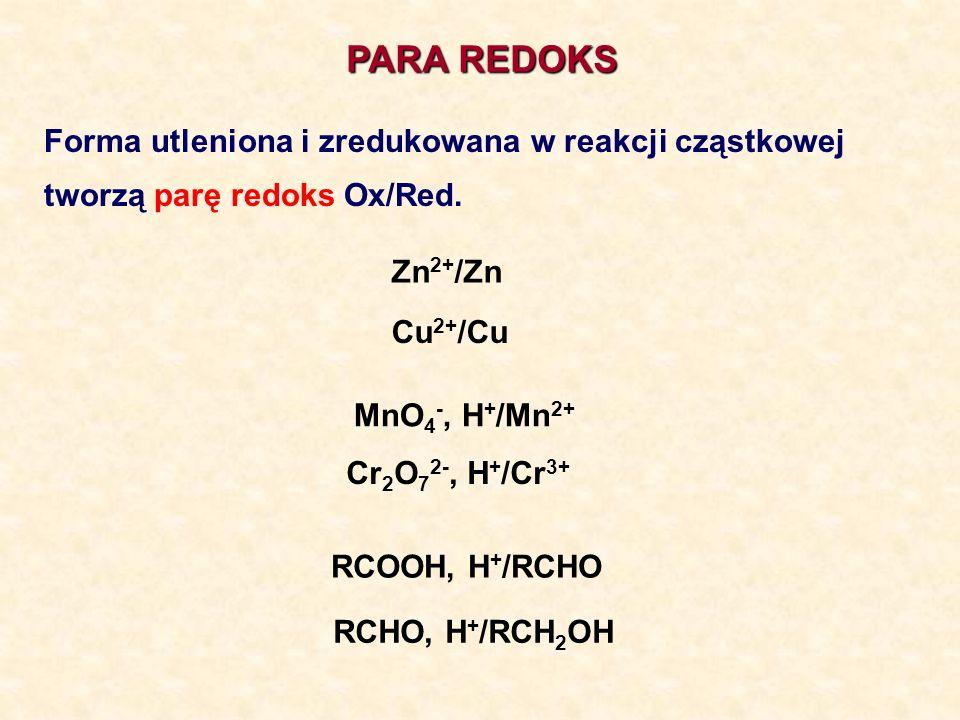 PARA REDOKS Forma utleniona i zredukowana w reakcji cząstkowej tworzą parę redoks Ox/Red. Zn 2+ /Zn Cu 2+ /Cu MnO 4 -, H + /Mn 2+ Cr 2 O 7 2-, H + /Cr