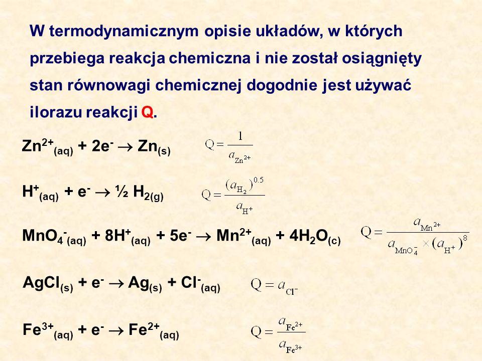 W termodynamicznym opisie układów, w których przebiega reakcja chemiczna i nie został osiągnięty stan równowagi chemicznej dogodnie jest używać iloraz