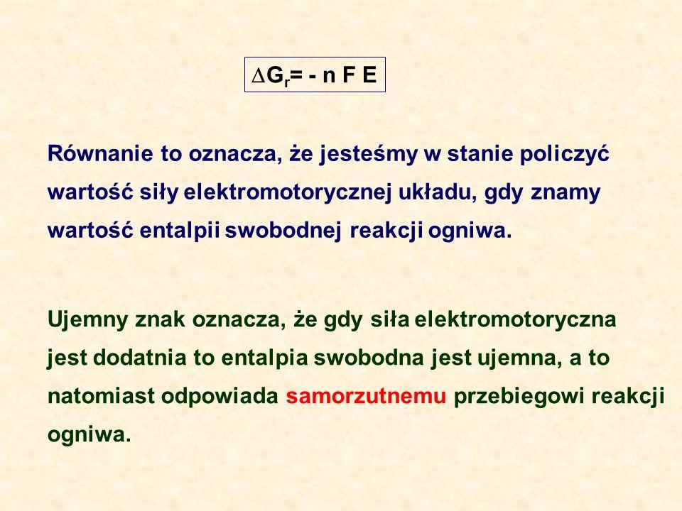 Ujemny znak oznacza, że gdy siła elektromotoryczna jest dodatnia to entalpia swobodna jest ujemna, a to natomiast odpowiada samorzutnemu przebiegowi r